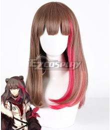 Arknights Зима Brown Pink Cosplay Wig