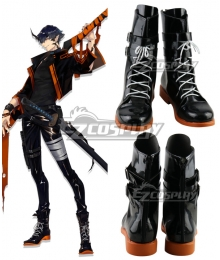Arknights Flamebringer Black Shoes Cosplay Boots