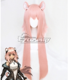 Arknights Gravel Pink Cosplay Wig - Wig + Ears