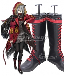Arknights Projekt Red Black Shoes Cosplay Boots