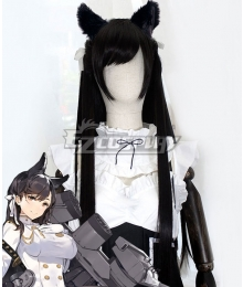 Azur Lane Atago Black Cosplay Wig - Wig + Ears