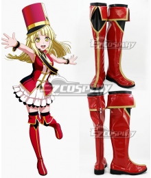 BanG Dream! Hello HappyWorld! Kokoro Tsurumaki Red Shoes Cosplay Boots