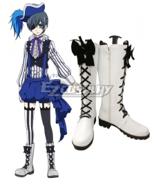 Black Butler Book of Circus Ciel Phantomhive White Shoes Cosplay Boots