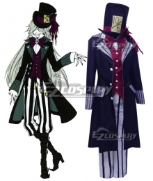 Black Butler Kuroshitsuji Ciel in Wonderland Undertaker Cosplay Costume