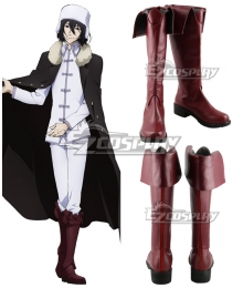 Bungou Stray Dogs Fyodor Dostoyevsky Dark red Shoes Cosplay Boots