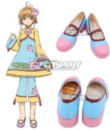 Cardcaptor Sakura: Clear Card Sakura Kinomoto Chinese Style Lotus Flower Pattern Blue Cosplay Shoes