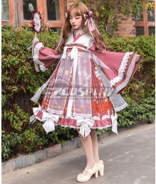 Classic Chinese Style Lolita OP Coffee Cup Brown White Long Sleeve One Piece Lolita Dress