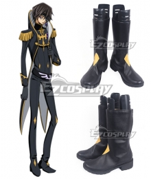 Code Geass Julius Kingsley Black Golden Shoes Cosplay Boots