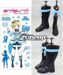 Love Live 2 Kira Sensation! Eli Ayase Black Shoes Cosplay Boots