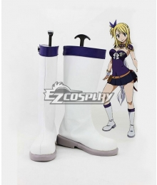 Fairy Tail Anime Lucy Heartfilia White Shoes Cosplay Boots