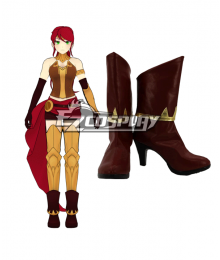 RWBY Beacon Academy Team JNPR Pyrrha Nikos Brown Shoes Cosplay Boots