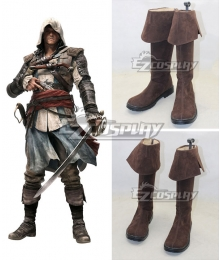 Assassins Creed 4 Black Flag Edward James Kenway Brown Cosplay Boots