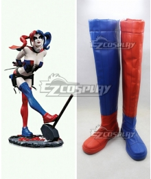 DC Batman Harley Quinn Blonde Anime Red Blue Cosplay Boots