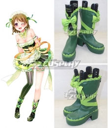 Love Live Valentine's Day Maid Hanayo Koizumi Green Cosplay Boots