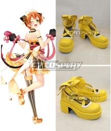 Love Live Valentine's Day Maid Rin Hoshizora Yellow Cosplay Shoes