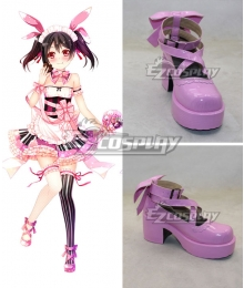 Love Live Valentine's Day Maid Nico Yazawa Pink Cosplay Shoes