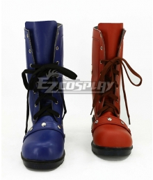 DC Comics Batman Arkham Harley Quinn Red And Blue Shoes Cosplay Boots