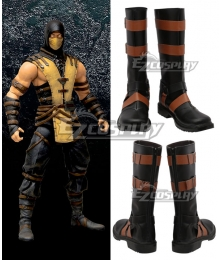 Mortal Kombat X Scorpion Black Shoes Cosplay Boots
