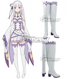 Re: Life In A Different World From Zero Emilia White Shoes Cosplay Boots