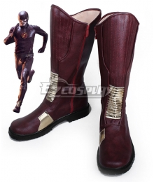 DC Comics The Flash Barry Allen Dark Red Shoes Cosplay Boots