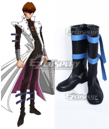 Yu-Gi-Oh! Yugioh Kaiba Seto Black Shoes Cosplay Boots