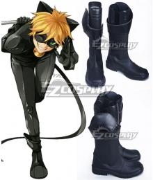 Miraculous Ladybug Cat Noir Black Shoes Cosplay Boots