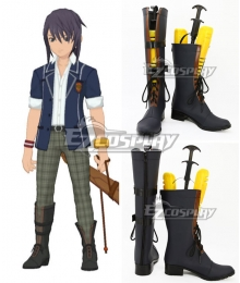 Tales of Vesperia TOV Yuri Lowell School Uniforms Dark blue Shoes Cosplay Boots