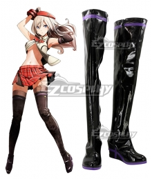 God Eater 2 Alisa Ilyinichna Omela Black Shoes Cosplay Boots