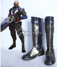 Overwatch OW Soldier 76 John Jack Morrison Black Silver Shoes Cosplay Boots