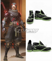 Overwatch OW Genji Shimada Oni Black Cosplay Shoes