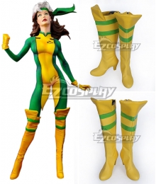 Marvel X-Men Rogue Mary Yellow Shoes Cosplay Boots