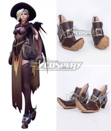 Overwatch OW Mercy Angela Ziegler All Saints'Day Witch Brown Shoes Cosplay Boots