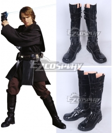 Star Wars Anakin Skywalker Darth Vade Black Shoes Cosplay Boots