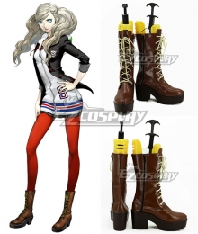 Persona 5 Ann Takamaki Brown Shoes Cosplay Boots