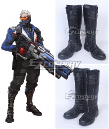 Overwatch OW Soldier 76 John Jack Morrison Black Shoes Cosplay Boots