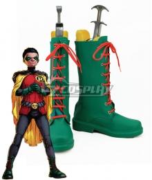 DC Comics Batman Son of Batman Damian Wayne Green Shoes Cosplay Boots