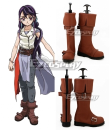 Yu-Gi-Oh Yugioh Duel Monsters Lulu Obsidian Kurosaki Ruri Brown Shoes Cosplay Boots