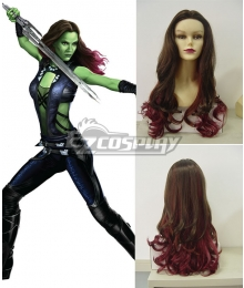 Guardians of the Galaxy Gamora Long Wavy Brown & Red Cosplay Wig
