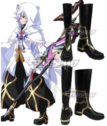 Fate Grand Order Caster Merlin Black Shoes Cosplay Boots