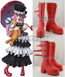 One Piece Perona Ghost Princess Red Shoes Cosplay Boots