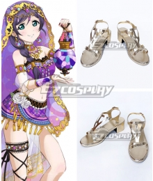 Love Live! Nozomi Tojo Golden Cosplay Shoes