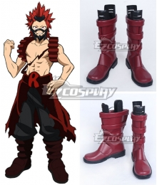 My Hero Academia Boku no Hero Akademia Eijirou Kirishima Deep Red Shoes Cosplay Boots