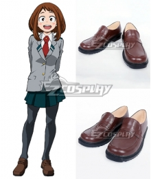 My Hero Academia Boku no Hero Akademia Ochako Uraraka Brown Cosplay Shoes