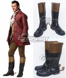 Disney Beauty and The Beast Gaston Movie 2017 Black Shoes Cosplay Boots
