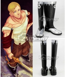 The Seven Deadly Sins Nanatsu no Taizai Escanor Black Shoes Cosplay Boots