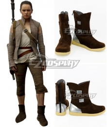Star Wars The Last Jedi Rey Brown Shoes Cosplay Boots