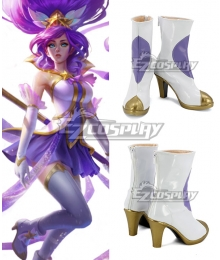 League of Legends LOL Star Guardian Janna White Shoes Cosplay Boots - B Edition
