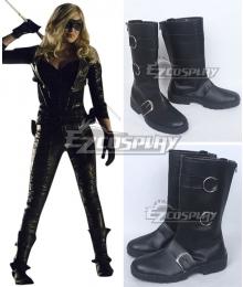 DC Comics Green Arrow Sara Lance Black Shoes Cosplay Boots