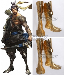 Overwatch OW Hanzo Shimada Golden Shoes Cosplay Boots