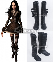 Alice: Madness Returns Alice Black Black Shoes Cosplay Boots
